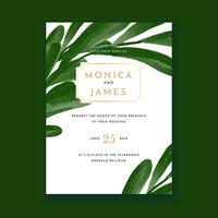 Cartão floral verde do convite do casamento da cor