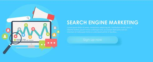 Search Engine Marketing banner. Computer with object, diagram, user icon. Vector flat illusration