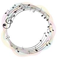 Music notes on round frame