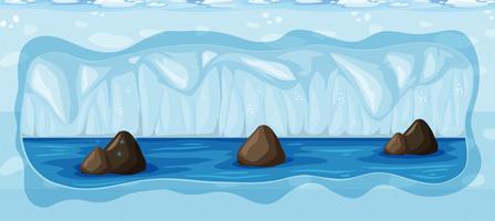 Una cueva helada fría subterránea