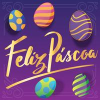 Feliz Pascoa Lettering Greeting Card Design