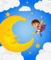 Een meisje in de buurt van de slapende maan