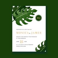 Monstera Water Color Wedding Invitation Card