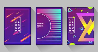 Neon abstract retro backgrounds. With different shapes on poster. Vector flat illustration