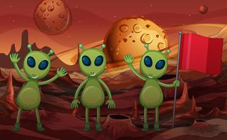 Green aliens and red flag on planet