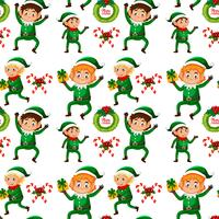 Christmas elf seamless background