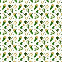 St. Patrick's Pattern With Hat, Beer, Clover, Coin And Harp