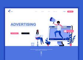 Il concetto moderno del modello di progettazione della pagina di web piano di pubblicità e della promozione ha decorato il carattere della gente per lo sviluppo del sito Web e del sito Web del cellulare. Modello di pagina di destinazione semplice. Illustr