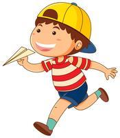 Liten pojke med pappersflygplan