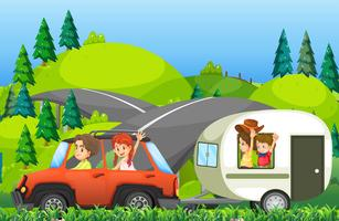 A family on road trip vector