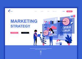 El concepto plano moderno de la plantilla del diseño de la página web de la estrategia de marketing adornó el carácter de la gente para el sitio web y el desarrollo móvil del sitio web. Plantilla de página de aterrizaje plana. Ilustracion vectorial