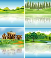 Four background scenes with reflections on river