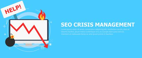 Seo crisis management. Computer is on fire, bomb, table Help.Vector flat illustration
