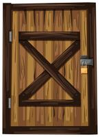 Wooden door with one padlock vector