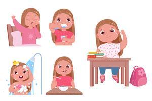 La routine quotidienne de l'enfant est une fille. Retour à l'école. Se lever et se brosser les dents, prendre une douche et manger au petit-déjeuner. Illustration de dessin animé de vecteur
