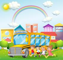 Children and school bus in the park