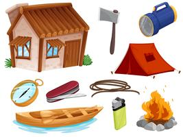 various objects of camping