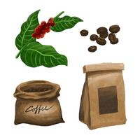 Akvarell kaffeelement Clipart Set