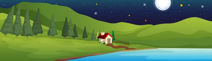 Background scene with little house by the lake
