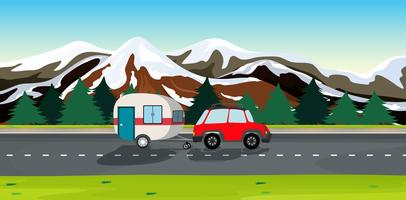 A car and travel trailers