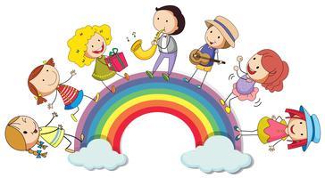 Menschen stehen über dem Regenbogen