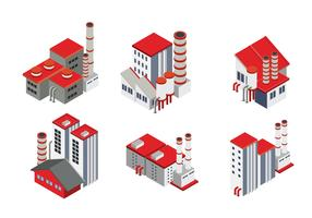 Modern Isometric Industrial Factory and Warehouse Logistic Building