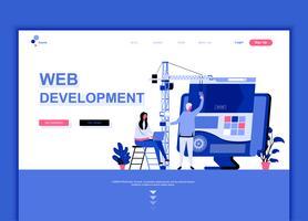 Modernes flaches Webseiten-Designvorlagenkonzept der Webentwicklung verzierte Menschencharakter für Website- und mobile Websiteentwicklung. Flache Landing-Page-Vorlage. Vektor-Illustration