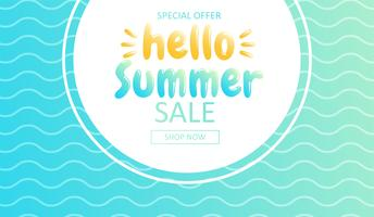 Olá verão. Banner de venda na loja online. Oferta especial, compre agora. Vetorial, caricatura, ilustração