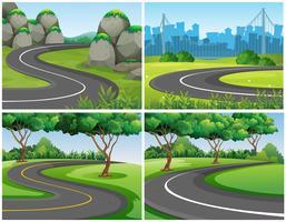 Routes vides à travers le parc et la ville