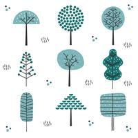 Hand Drawn Tree Set Vector