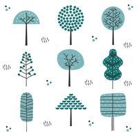 Vector conjunto de árboles dibujados a mano