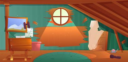 The interior of the attic. An old forgotten room with boxes on the roof. Lamp and pictures and stairs to the top. cartoon illustration