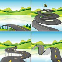 Vier scènes van wegen in het veld