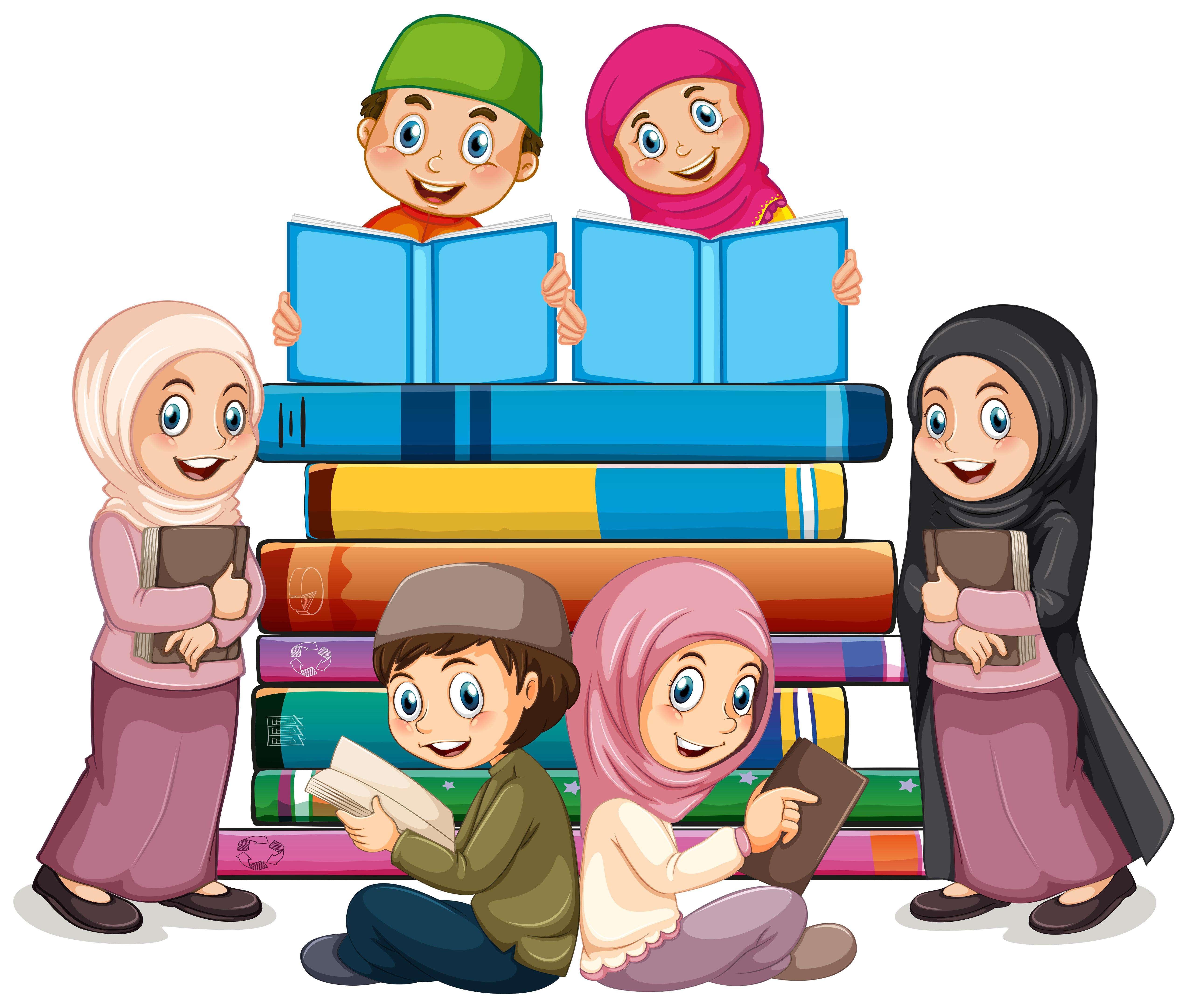 Two children reading books in school - Download Free Vectors, Clipart  Graphics & Vector Art