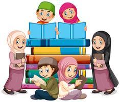 Muslim children reading book