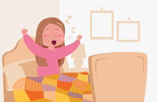 Barnflicka vaknar tidigt på morgonen i sovrummet i din säng. Vektor tecknad illustration