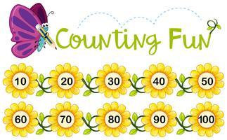 Papillon, compter, nombre, fleurs