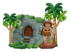Caveman and cave vector
