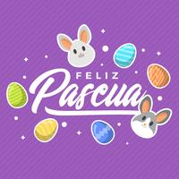 Vlakke Moderne Purpere Feliz Pascua Lettering Typography Vector Background