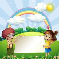 Disegno di carta con ragazzo e ragazza nel parco