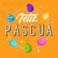 Flat Feliz Pascua Lettering Typography Vector Background