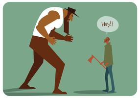 Bijlmens versus gigantische man vector