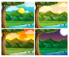 Cuatro escenas de la naturaleza a diferentes horas del día.