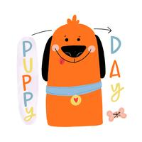 Cute Orange Dog Smiling With Colorful Lettering Around