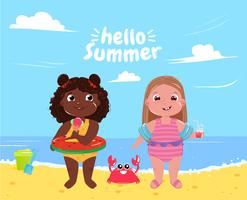 Two little girls on the beach. Hello summer. Friends fun game and holiday at sea. Vector cartoon illustration