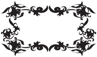 Frame template with silhouette flowers