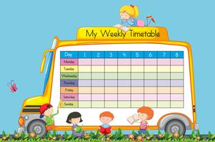 Weekly Timetable on School Bus Theme vector