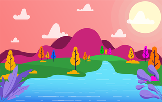 Vetorial, paisagem, ilustração
