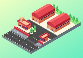 Isometric Industrial Buildings Vector Set