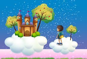 Un ragazzo e un castello sopra le nuvole